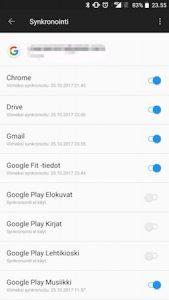 Google synkronointiasetukset