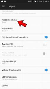 Android näyttöasetukset fontin koko