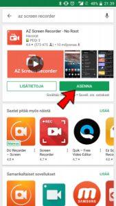 Asenna AZ Screen Recorder tabletin tai puhelimen näytön tallennusta varten