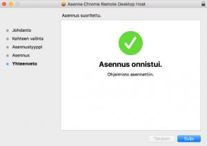 Chrome-etäkäyttö asennettu