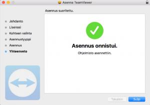 TeamViewer etäkäyttöohjelman asennus valmis