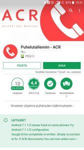 Avaa ACR puhelutallennin
