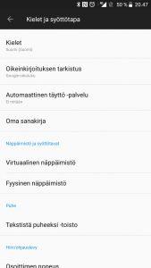 Ennakoiva teksti pois Android