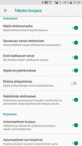 Ennakoiva teksti pois Androidilla