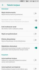 Ennakoiva teksti poistettu Androidista