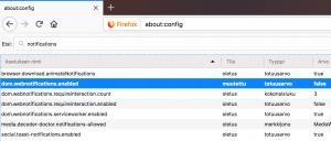 Firefox ilmoitukset estetty