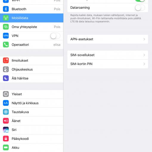 Ota LTE-yhteys käyttöön iPadilla