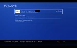 Maksukorttitietojen poistaminen Playstation 4