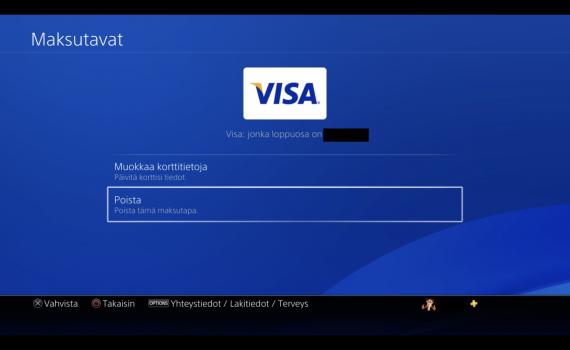 Pankkikortin poisto Playstation 4