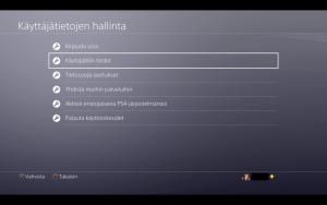 Käyttäjätilin tiedot Playstation 4