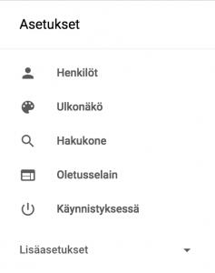 Google Chrome Lisäasetukset