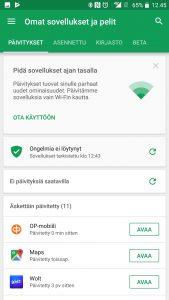 Päivitykset asennettu Google Play Kauppa