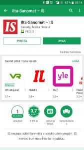 Avaa sovellus Android
