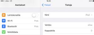 Verkon nimi iPad