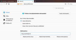 Aloitussivun vaihtaminen Firefox