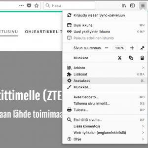Aloitussivun vaihto Firefox