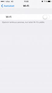 Wi-Fi pois päältä iPhonella