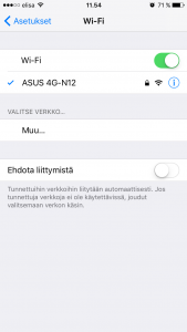 iPhone Wi-Fi yhdistetty
