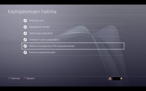 Playstation aktivointi ensisijaisena järjestelmänä