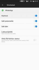 WhatsApp-ilmoitusten piilottaminen