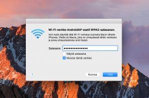 Wlan-verkkoon yhdistäminen Macbookilla
