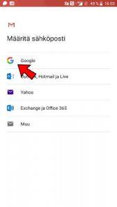 Lisää Gmail-sähköposti