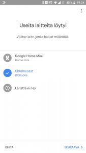 Chromecastin asennus Google Home