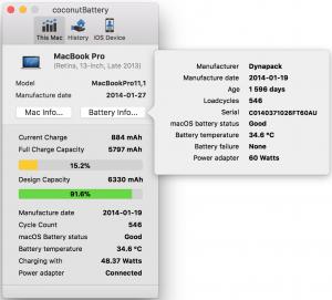Akun tiedot Macbook