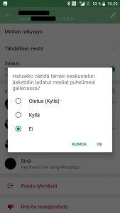WhatsApp kuvien piilottaminen