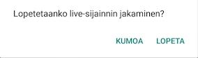 Live-sijainnin jakamisen lopettaminen WhatsAppissa