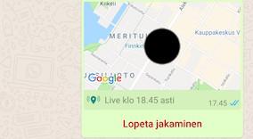 Lopeta sijainnin jakaminen WhatsAppissa