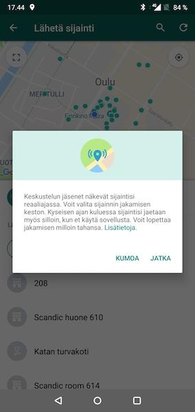 WhatsApp reaaliaikainen sijainti