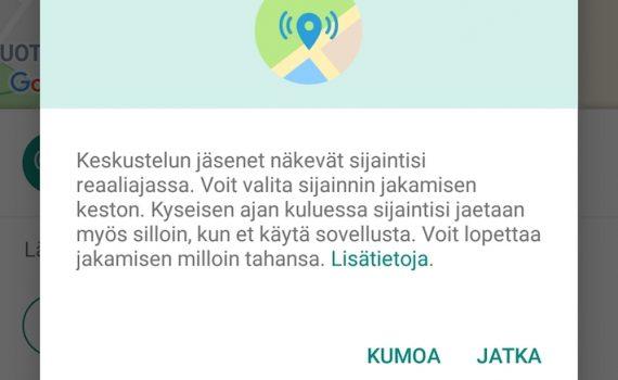 WhatsApp sijainnin jakaminen ohje