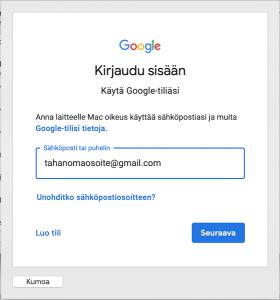 Gmailin lisääminen Macille