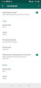 WhatsApp ilmoitukset